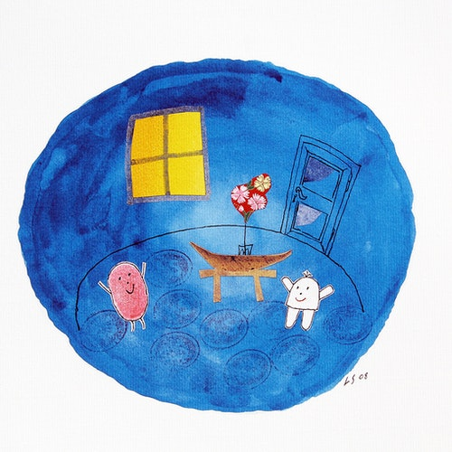 Litografi Tummen blå