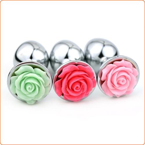 Metallplugg med ros, medium, flera olika färger