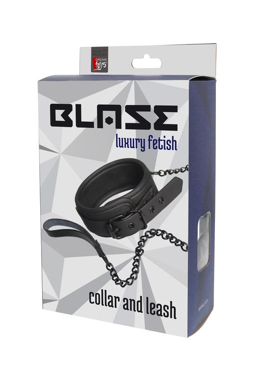 Halsband med koppel, svart