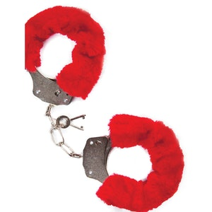 Mai No.38, metal furry handcuffs, röda