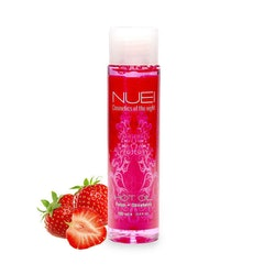 Nuei, ätbar, värmande massageolja - Strawberry