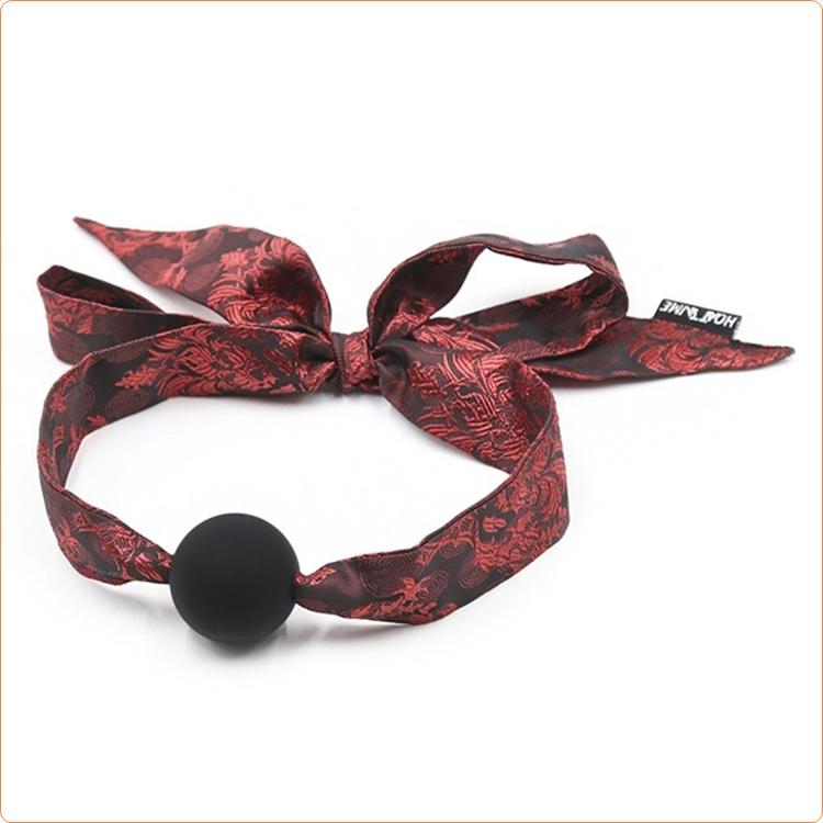 Ball gag med knytband i jacquard