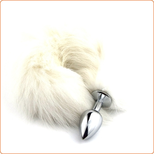 White Arctic Fox Tail, metallplugg, small