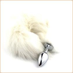 White Arctic Fox Tail, metallplugg, small