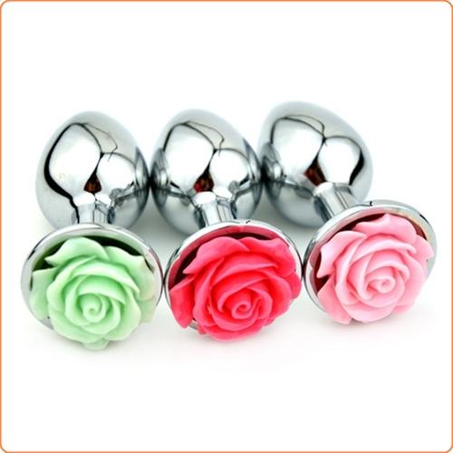 Metallplugg med ros, small, flera olika färger