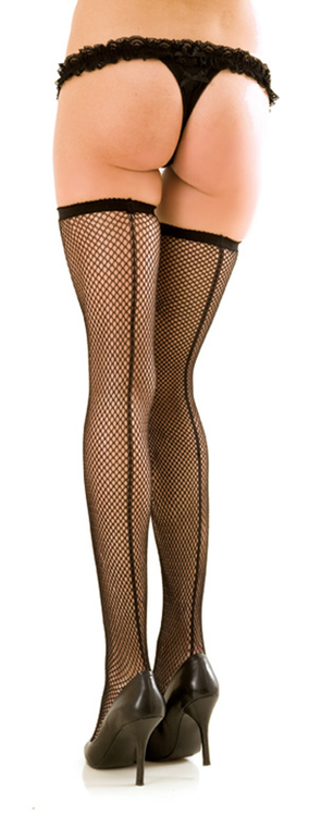 Fishnet Thigh Highs with Backseam