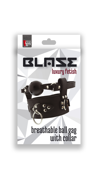 Blaze, Breathable ball gag with collar