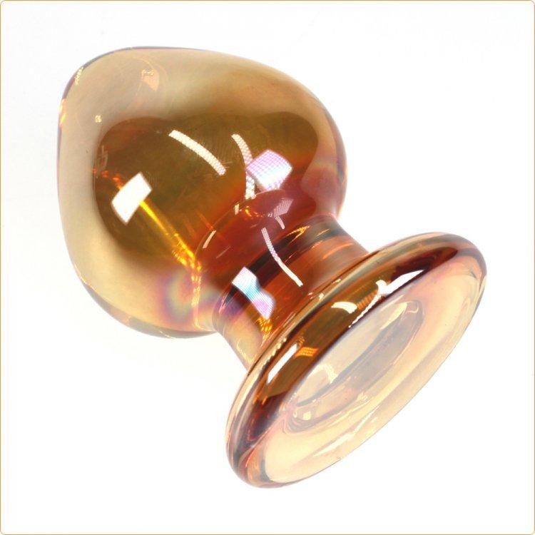 Golden glass butt plug
