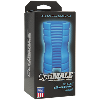 OptiMALE TRUSKYN Ribbed Silicone Stroker, Blue
