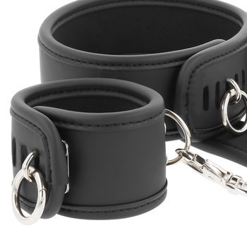 FETISH SUBMISSIVE LEATHER AND HANDCUFFS VEGAN LEATHER