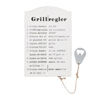 Träskylt Grillregler