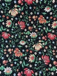 Möbeltyg Blommigt Svart
