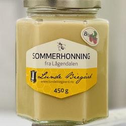 450 g Sommerhonning på glass (Bringebærhonning)