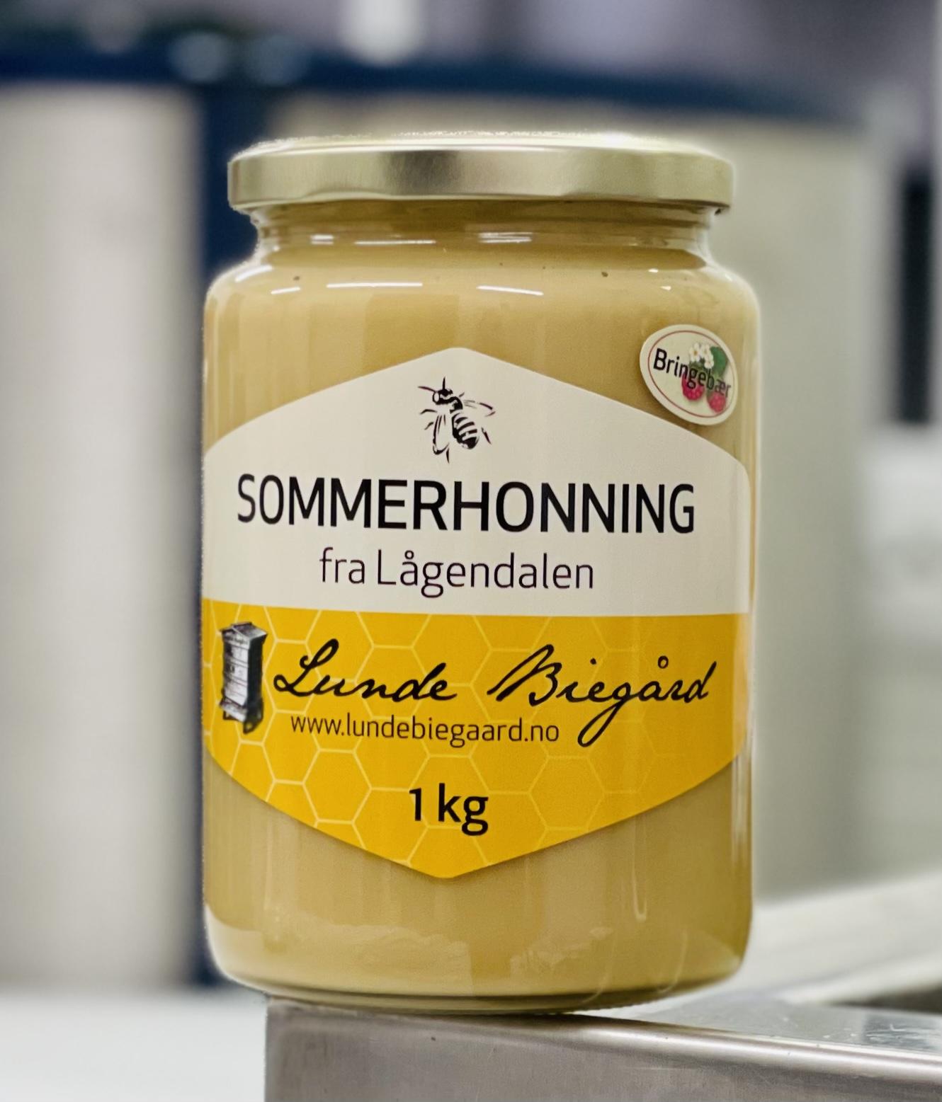 1 kg Sommerhonning på glass (Bringebærhonning)