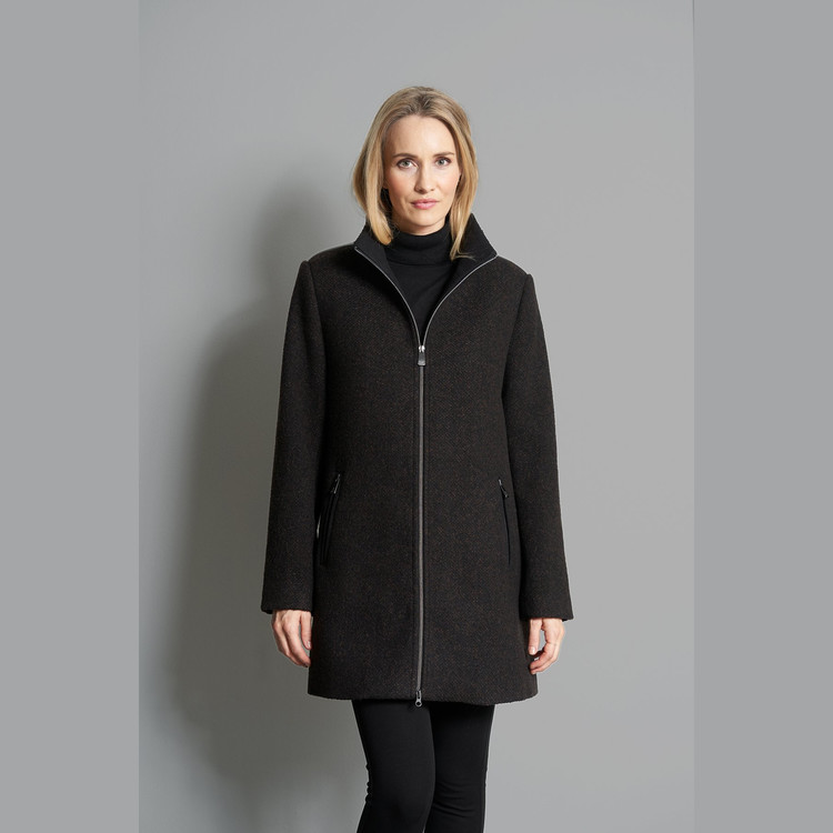 Junge Celeste Tweed lang jakke, varm, vindtett, vannavstøtende og pustende