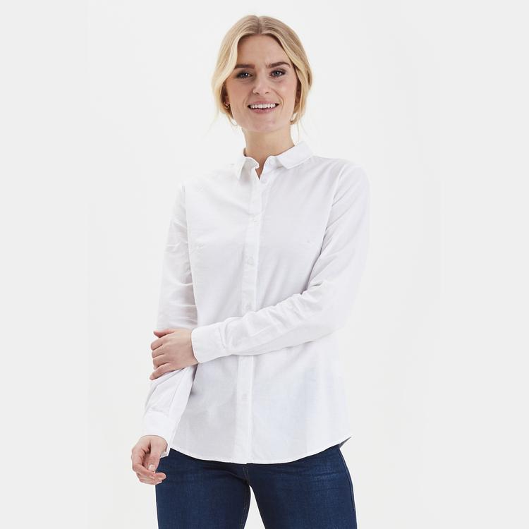 Fransa klassisk langermet skjorte - hvit