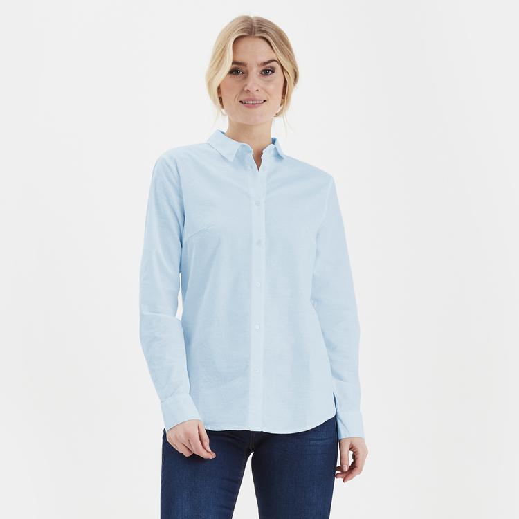 Fransa klassisk langermet skjorte - Blue Chambré