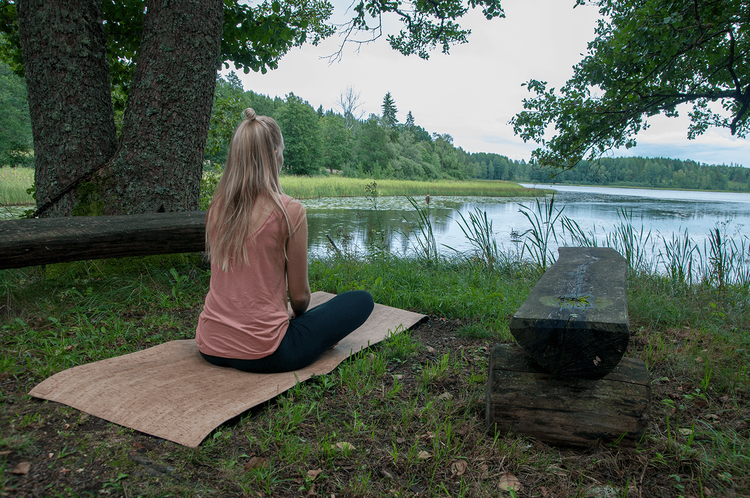 Skoglig, yogamatta i kork
