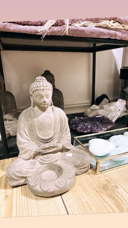 Buddha ljushållare, grå