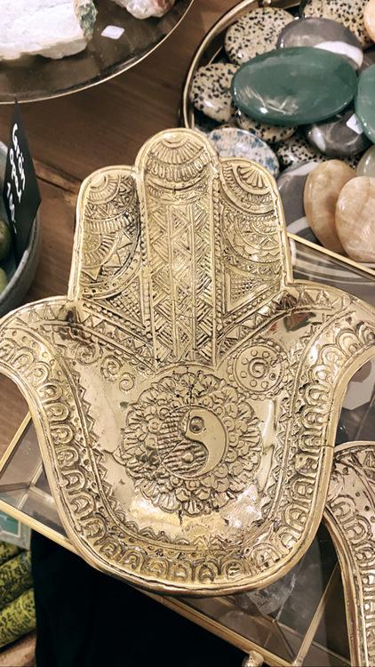 Fatimas hand / Hamsa, skål i brons