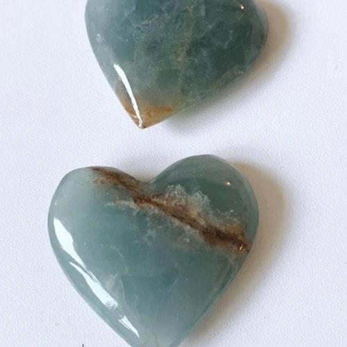 Larimar aquatine calcite, hjärta