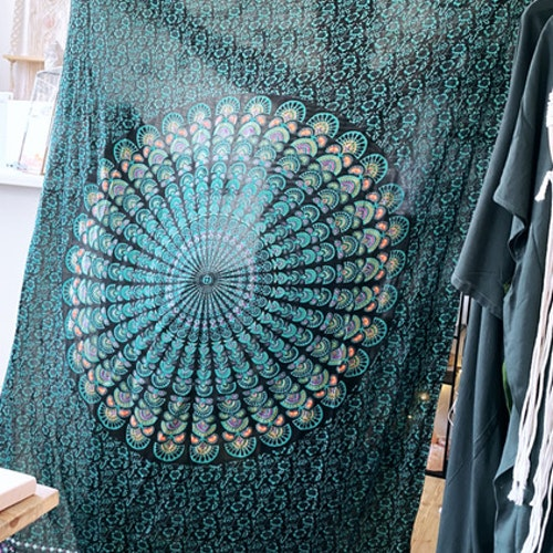 Sarong svart/turkos mönstrad