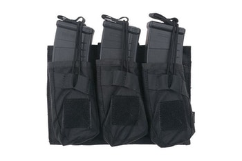 Triple OPEN Pouch for AK Magasin - Black