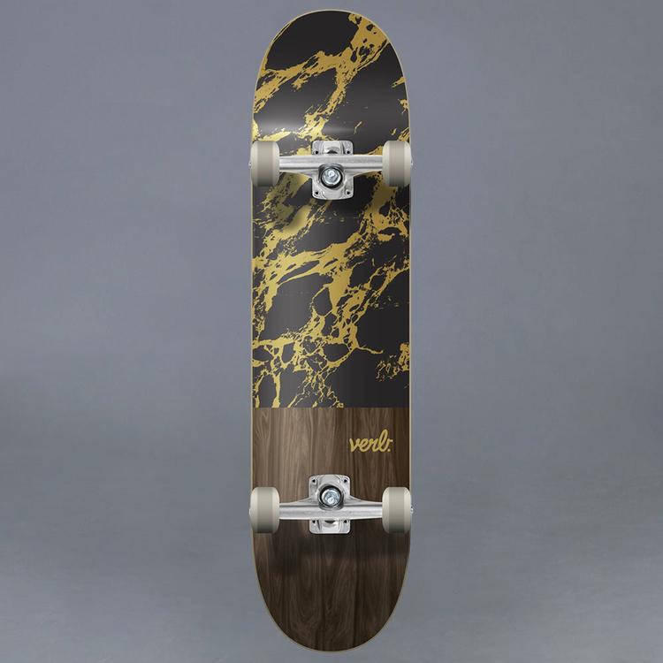 "Verb Marble Dip Svart Komplett Skateboard 8"""
