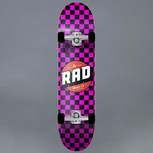 "Rad Checkers Pink Komplett Skateboard 7.75"""