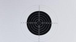 Papper med precisionsmål för 10 m skytte