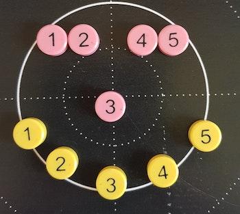 Magnetset med 10 magneter rosa och gula