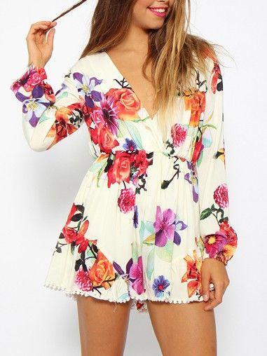 Blommig byxdress - Flowers