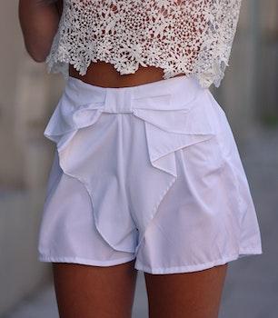 White Bow Shorts