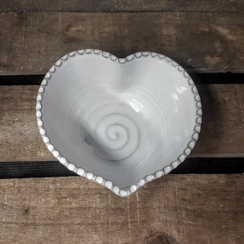 Hjärtskål vit liten