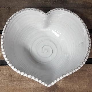 Hjärtskål vit stor