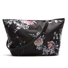 Shoppingväska Augusta svart blommig JJDK