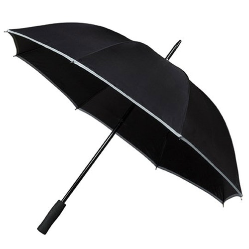 Paraply med Reflexkant svart långt