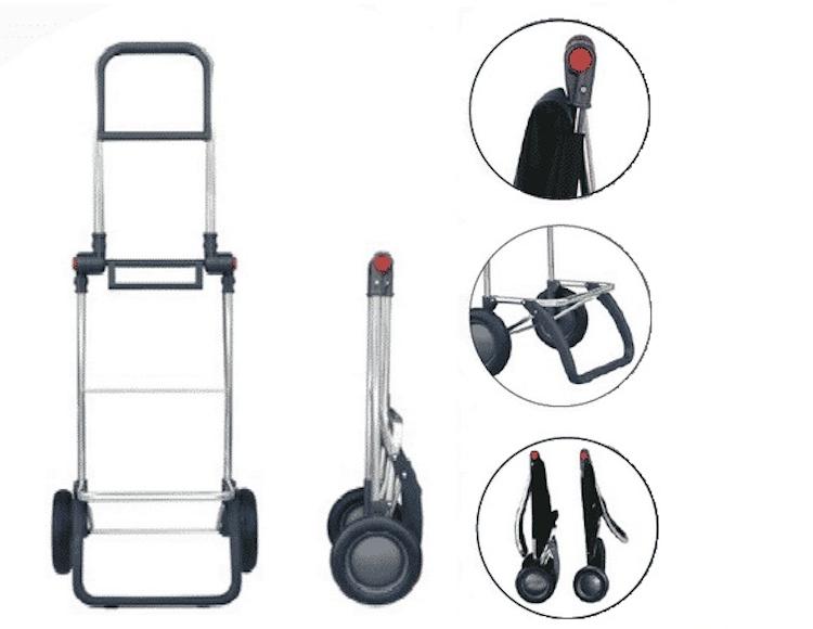 Shoppingvagn 2 hjul hopfällbar med väska i tyget Bora rutig röd