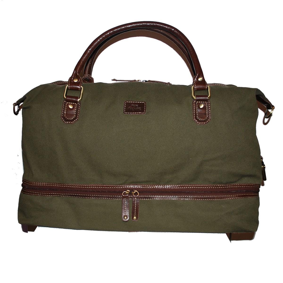 Bag stor kakigrön canvas med bruna läderdetaljer The Monte 57098
