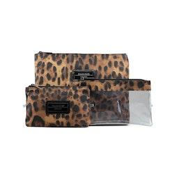 Necessär leopard 3-delsset & sminkväskor