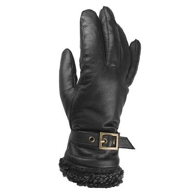 Handskar dam skinn svart med spänne