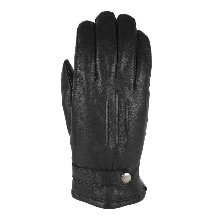 Handskar herr skinn svart med sleif