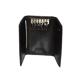 Nyckelfodral skinn med kortfack svart Le Salle
