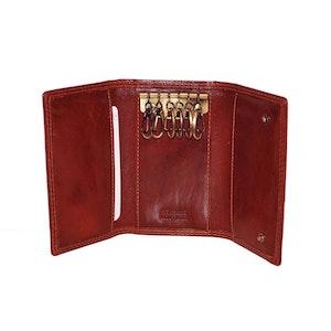 Nyckelfodral skinn med kortfack röd Le Salle