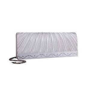 Kuvertväska tyg silver med strass Maricci