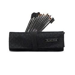 Makeup-penslar 12-pack svart tyg Gillian Jones