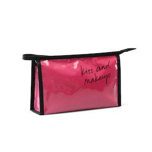 Sminkväska lack rosa Kiss and makeup
