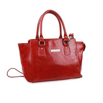 Handväska skinn röd The Monte 51106