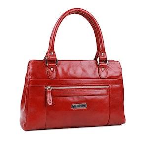 Handväska skinn röd The Monte 52293