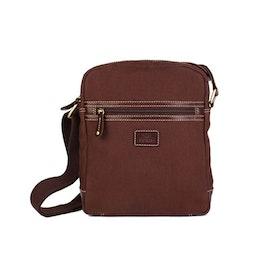 Axelväska brun canvas med bruna läderdetaljer The Monte 57093